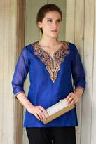 Embellished Royal Blue Tunic Top with Golden Embroidery, 'Royal Charm'