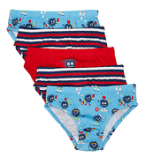 John Lewis Boys' Monster Briefs, Pack of 5, Blue/Red
