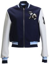 MSGM Embroidered Blue And White Wool Bomber Jacket