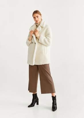 MANGO Double breasted faux shearling-lined coat caramel - XXXS - Women