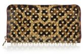 Christian Louboutin Panettone Spiked Leopard-Print Zip-Around Wallet