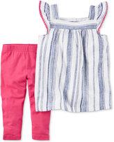Carter's 2-Pc. Striped Top & Capri Leggings Set, Baby Girls (0-24 months)