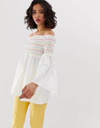Vero Moda Rainbow Smock Top With Flared Sleeves-White