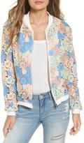 Glamorous Sheer Crochet Lace Bomber Jacket