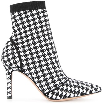 Gianvito Rossi Houndstooth Print Sock Boots