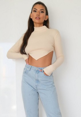 Missguided Taupe Rib Asymmetric Long Sleeve T Shirt