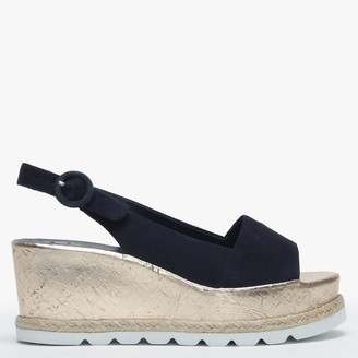 Högl Blue Suede Low Cork Wedge Sandals