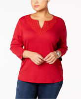 Karen Scott Plus Size Crochet-Trim Tunic, Created for Macy's