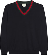 Gucci Web V-neck cotton jumper 4-12 years