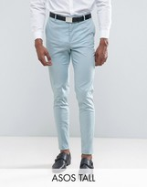 Asos Tall Wedding Skinny Suit Trouser In Light Blue Stretch Cotton