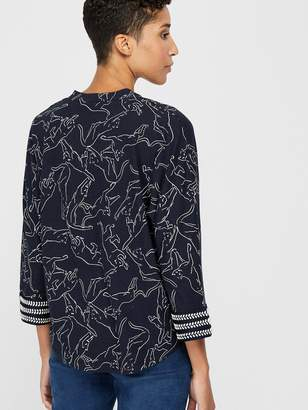 Monsoon Reema Tiger Print Three-Quarter Sleeve Top - Navy