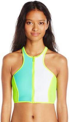 Body Glove Women's Borderline Zip Front Crop Bikini Top