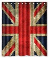"British Flag shower curtain Eco Friendly Vintage United Kingdom Union Jack Flag British Flag Printed Fabric Shower Curtain Polyester Waterproof Bathroom Curtains with Free Hooks 60"" x 72"""
