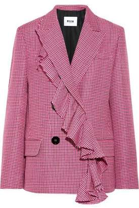 MSGM Double-breasted Houndstooth Wool-tweed Blazer