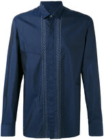 Lanvin embroidered lines shirt - men - Silk/Cotton - 37
