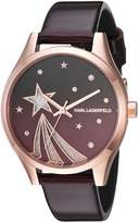Karl Lagerfeld Women's 'Janelle' Quartz Stainless Steel and Leather Casual Watch, Color: (Model: KL1637)