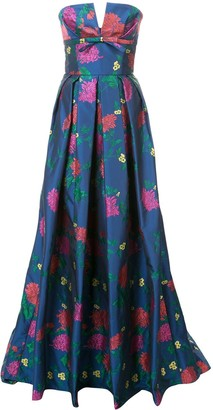Carolina Herrera Strapless Floral Evening Gown