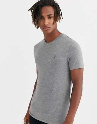 AllSaints Tonic v-neck t-shirt with ramskull in grey marl