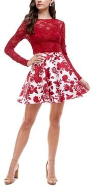 City Studios Juniors' 2-Pc. Lace & Floral-Print Fit & Flare Dress