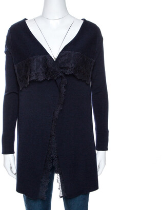 Valentino Navy Blue Knit Lace Trim Waterfall Front Cardigan M