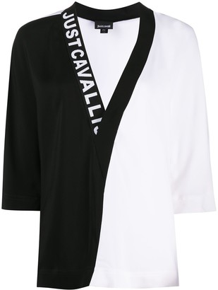 Just Cavalli Two-Tone Logo Blouse