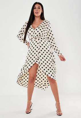 Missguided Size Champagne Polka Dot Satin High Low Dress