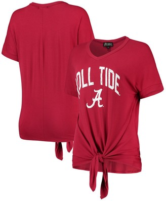 Women's Crimson Alabama Crimson Tide On A Break V-Neck Knot T-Shirt
