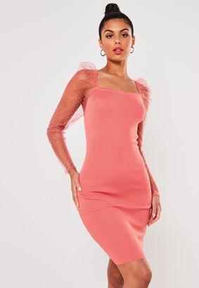Missguided Coral Organza Sleeve Bodycon Mini Dress