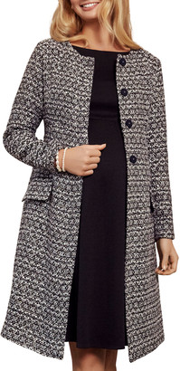 Tiffany Rose Maternity Verity Collarless Button-Front Boucle Coat