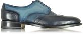 Santoni Two Tone Blue Leather Wingtip Derby Shoes