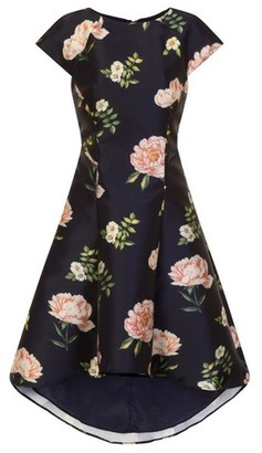 Dorothy Perkins Womens Chi Chi London Navy Floral Print Skater Dress, Navy
