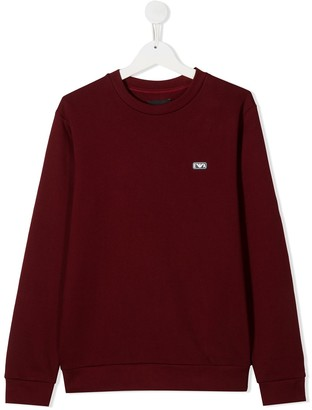 Emporio Armani Kids TEEN logo plaque sweater
