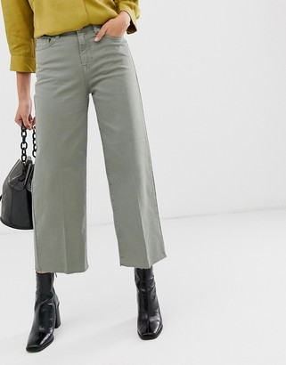 Selected cropped wide leg jean