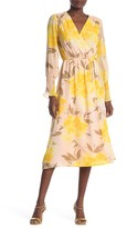 Halogen Floral Surplice Tie Waist Midi Dress (Regular & Petite)