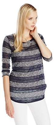 Splendid Women's Rugby Pointelle Loose Knit Striped Boat Neck Long Sleeve Top,(Manufacturer Size:Small)