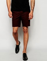 Asos Skinny Fit Short In Poplin - Red