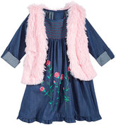 Good Lad 2-Pc. Embroidered Denim Dress and Faux Fur Vest Set, Little Girls (4-6X)