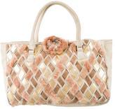 Ungaro Fur-Accented Suede Handle Bag