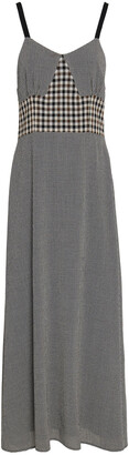 Isa Arfen Grosgrain-trimmed Houndstooth And Checked Wool Midi Dress
