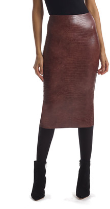Commando Animal-Pattern Faux-Leather Midi Skirt