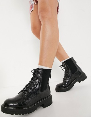 New Look chunky lace up ankle boots in black croc