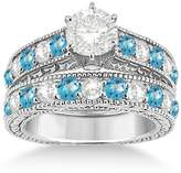 Allurez Antique Diamond and Topaz Gemstone Bridal Wedding Ring Set in Fine 18k White Gold (3.12ct)