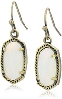 Kendra Scott Signature Lee Earrings in Antique Brass and White Banded Agate