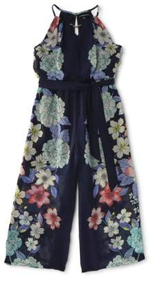 My Michelle Sleeveless Floral Printed Tie Waist Jumpsuit (Big Girls)
