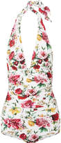 Dolce & Gabbana Ruched Floral-print Halterneck Swimsuit - White
