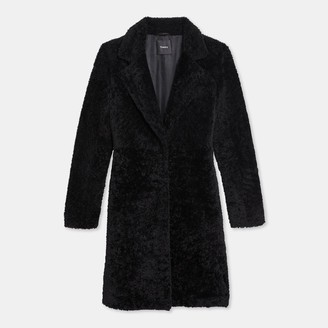 Theory Column Coat in Shearling
