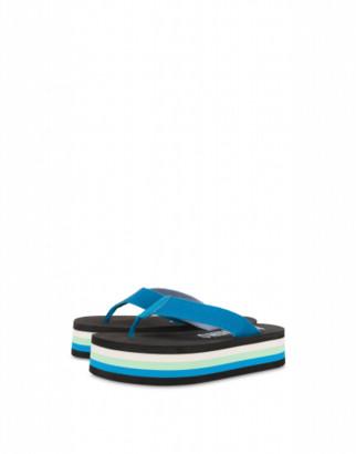 Moschino Platform Thong Sandals Man Blue Size 40 It - (7 Us)