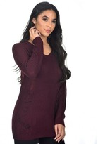 AX Paris Wine V Neck Cable Knit Laddered Jumper