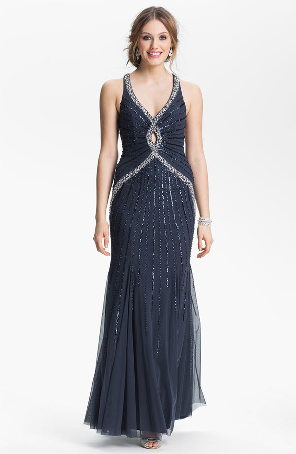 Sean Collection Embellished Mesh Gown (Online Exclusive)