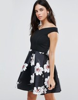 Jessica Wright Bardot Dress With Floral Skater Skirt